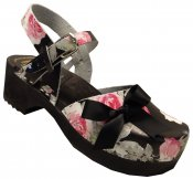 Mary Jane - Black floral leather on a black high (7 cm) base, black silk bow