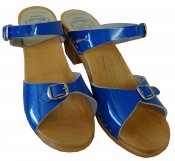 Vera - Blue patent leather on a natural high (7 cm) base