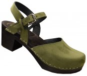 Bakanna - Green Santana leather on a black high (7 cm) base