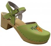 Bakanna - Lime green leather on a natural high (7 cm) base withe orange/green kurbits