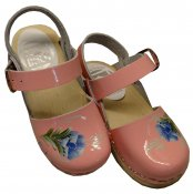 Kids Clog - Lilla bakanna - Pink patent leather on a natural base with blue/green kurbits painting
