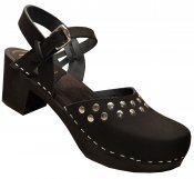Doris - Black leather on black high (7 cm) base, Bakanna style with silver rivets