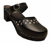 Doris -  Black leather on a black high (7 cm) base, Dalanna style with silver rivets