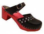 Doris - Black leather on a red high (7 cm) base, Dalanna style with silver rivets