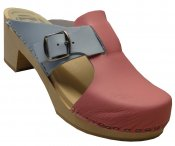 Vitsippa - Pink & light blue leather on a natural high (7 cm) base