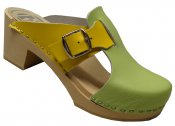 Vitsippa - Green & yellow leather on a natural high (7 cm) base