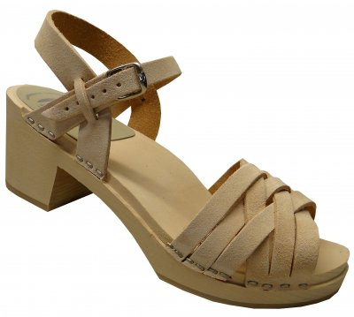 Kajsa - Beige santana leather on a natural high (7 cm) base