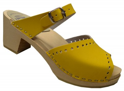 Linda - Yellow leather on a natural high (7 cm) base