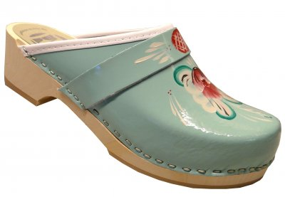 Traditional - Light blue leather on a natural low (5 cm) base with kurbitspainting