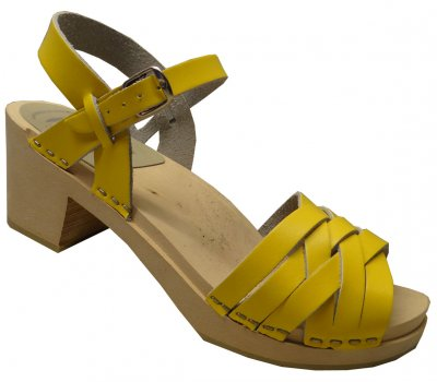 Kajsa - Yellow leather on a natural high (7 cm) base