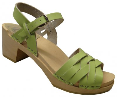 Kajsa - Lime green leather on a natural high (7 cm) base