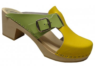 Vitsippa - Yellow & Green leather on a natural high (7 cm) base