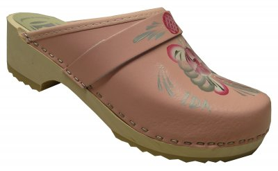 Traditional - Pink leather on a natural low (5 cm) base with pink/grey kurbits